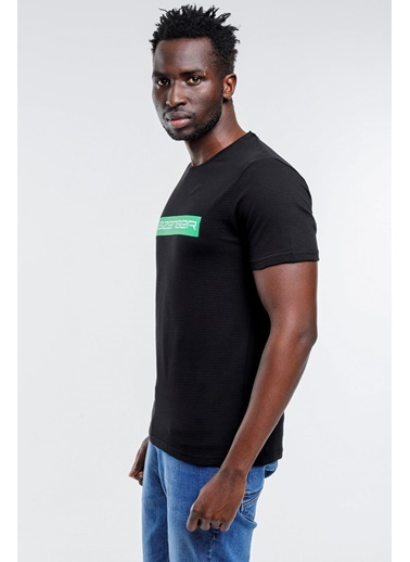 Slazenger Slazenger BATTLE Erkek T-Shirt Pudra Siyah